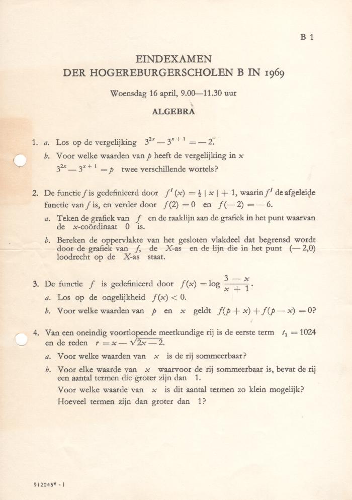 examen algebra rhbs 1969