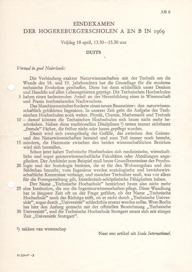 examen Duits rhbs 1969